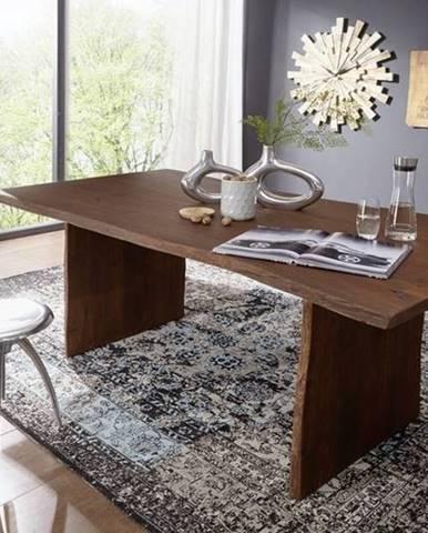 WOODLAND Jedálenský stôl 200x100 cm, tmavohnedá, akácia
