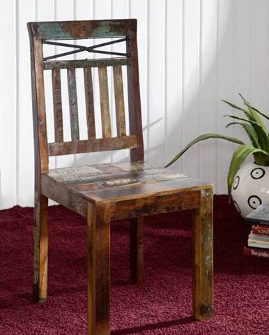 OLDTIME Stolička, lakované indické staré drevo