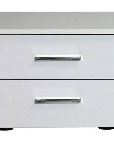 Systém Siena 23 Nočný Stolík Dvojity Biely/Biely Lesk