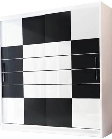 Skriňa Aruba 203 cm Bielo/čierna s  bielym sklom