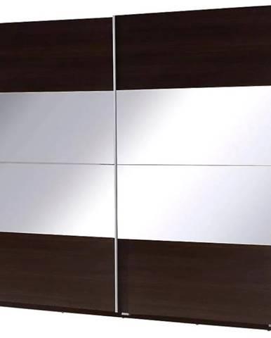 Skriňa Twister 2 225 cm Gaštan wenge/zrkadlo