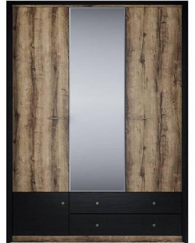Skriňa so zrkadlom Jagger Dub Monastery/čierna