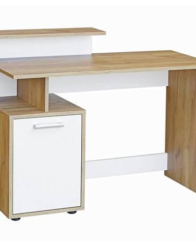 Písací stôl  DSB 01 craft zlatý/biela