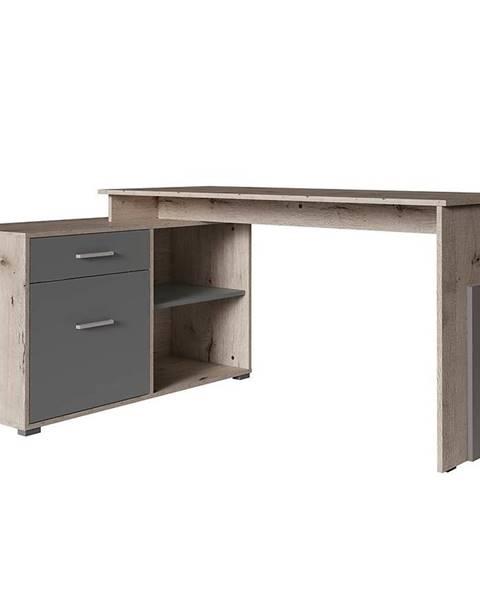 MERKURY MARKET Písací stôl Como Korner dąb wellington/grafiti 60