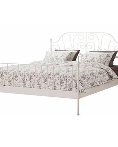 Behemoth 140 kovová manželská posteľ s roštom biela