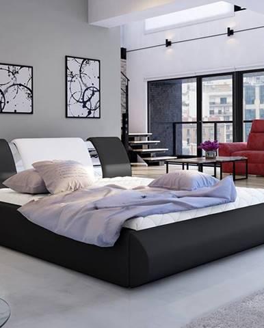 Folino 180 čalúnená manželská posteľ s roštom čierna