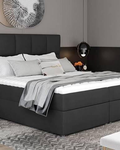 Grosio 185 čalúnená manželská posteľ s úložným priestorom čierna (Monolith 97)