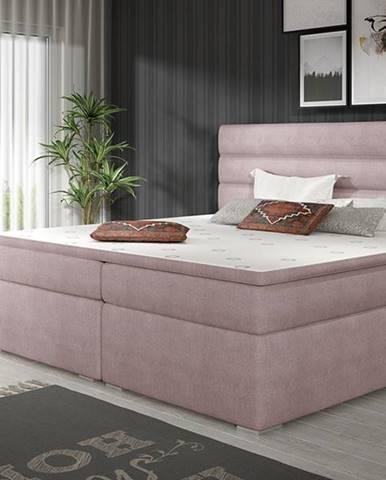 Spezia 140 čalúnená manželská posteľ s úložným priestorom ružová