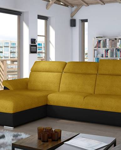 Tarragon L rohová sedačka s rozkladom a úložným priestorom žltá