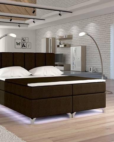 Barino 140 čalúnená manželská posteľ s úložným priestorom tmavohnedá (Sawana 26)
