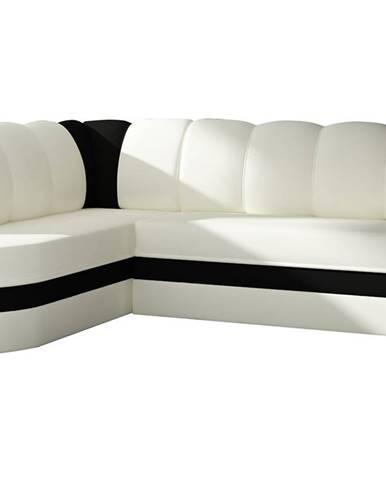 Belluno L rohová sedačka s rozkladom a úložným priestorom biela