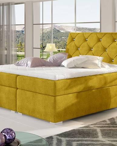 Beneto 160 čalúnená manželská posteľ s úložným priestorom žltá