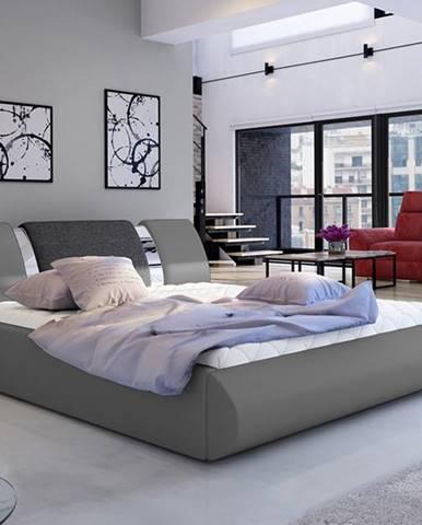 Folino 140 čalúnená manželská posteľ s roštom sivá