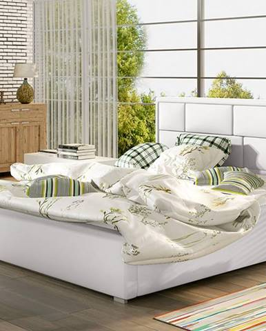 Liza 160 čalúnená manželská posteľ s roštom biela
