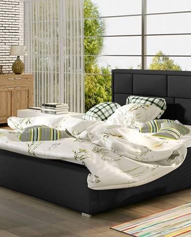 Liza UP 160 čalúnená manželská posteľ s roštom čierna