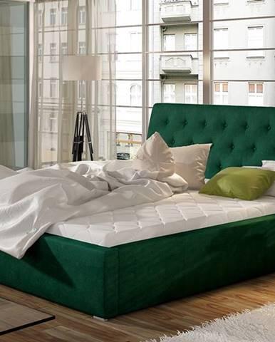 Monzo 200 čalúnená manželská posteľ s roštom tmavozelená