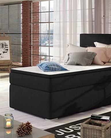 Rodrigo 90 P čalúnená jednolôžková posteľ s úložným priestorom čierna (Sawana 14)