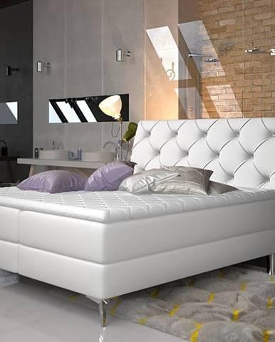 Amika 140 čalúnená manželská posteľ s úložným priestorom biela