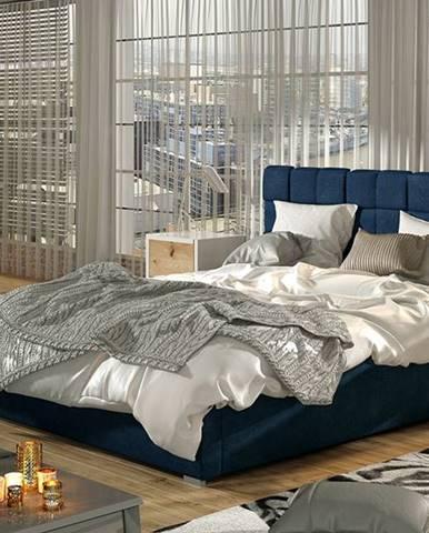 Galimo 160 čalúnená manželská posteľ s roštom tmavomodrá