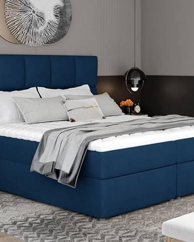 Grosio 145 čalúnená manželská posteľ s úložným priestorom tmavomodrá