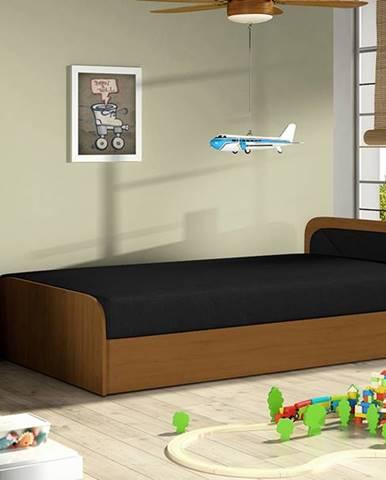 Pinerolo 80 P jednolôžková posteľ s úložným priestorom čierna