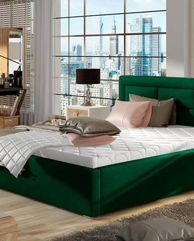 Rovigo 140 čalúnená manželská posteľ s roštom tmavozelená