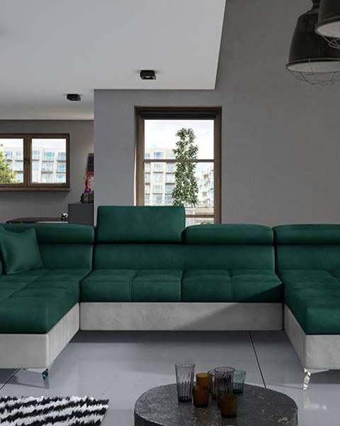 NABBI Enrico U L rohová sedačka u s rozkladom a úložným priestorom tmavozelená