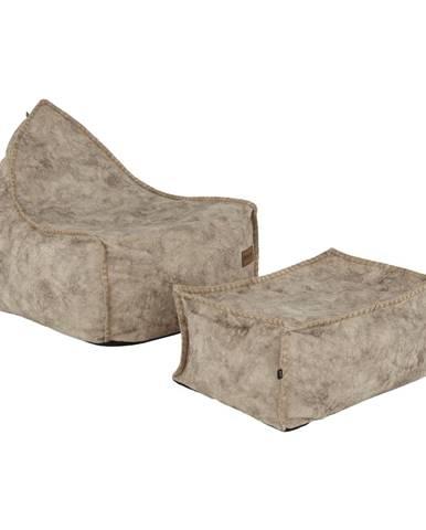 Folan sedací vak s taburetkou sivohnedá (taupe)