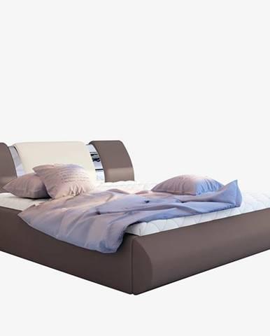 Folino 160 čalúnená manželská posteľ s roštom hnedá