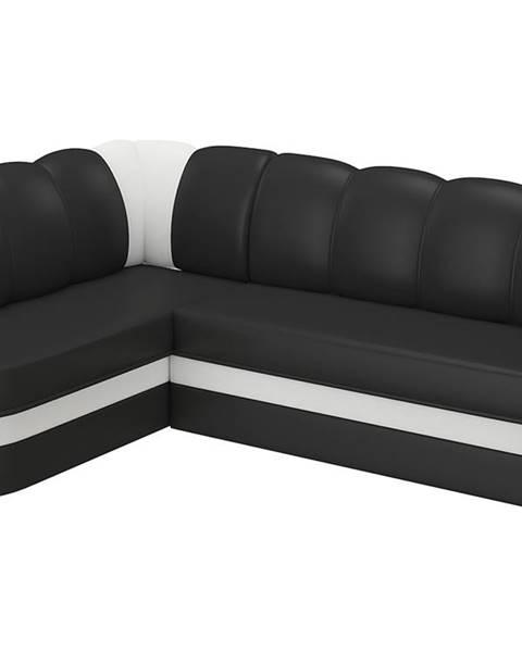 NABBI Belluno L rohová sedačka s rozkladom a úložným priestorom čierna (Soft 11)