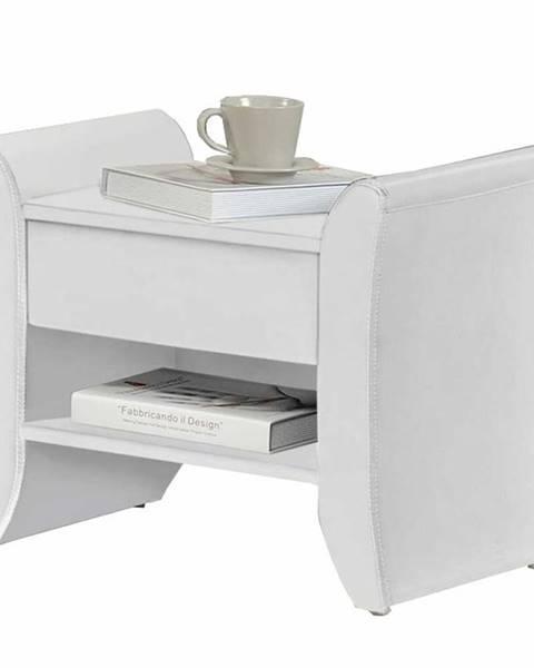 Tempo Kondela Bolton čalúnený nočný stolík biela