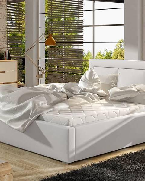 NABBI Branco 140 čalúnená manželská posteľ s roštom biela