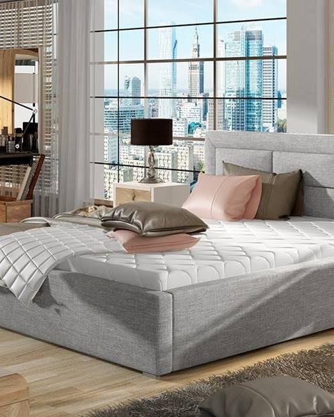 NABBI Rovigo 140 čalúnená manželská posteľ s roštom svetlosivá (Sawana 21)