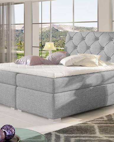 Beneto 160 čalúnená manželská posteľ s úložným priestorom svetlosivá (Sawana 21)