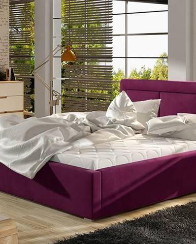 Branco UP 200 čalúnená manželská posteľ s roštom vínová