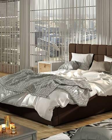 Galimo 200 čalúnená manželská posteľ s roštom tmavohnedá