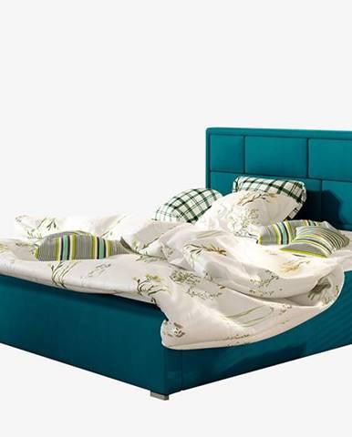 Liza 140 čalúnená manželská posteľ s roštom tyrkysová