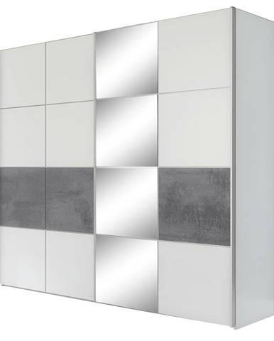 Puno šatníková skriňa s posuvnými dverami a zrkadlom biela matná
