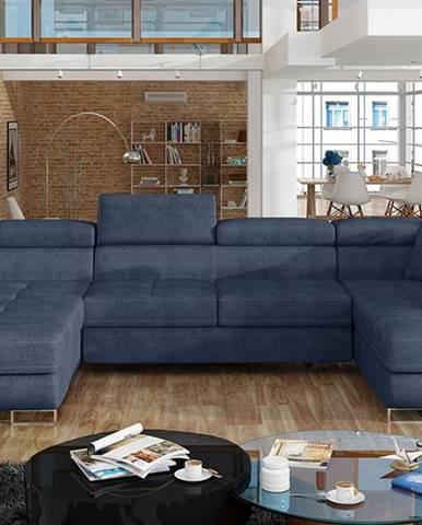 Rossano U P rohová sedačka u s rozkladom modrá (Omega 86)