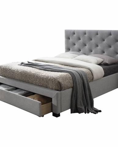 Santola 160 čalúnená manželská posteľ s roštom sivá