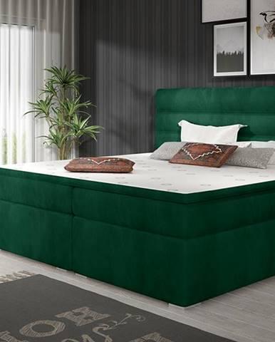 Spezia 140 čalúnená manželská posteľ s úložným priestorom tmavozelená