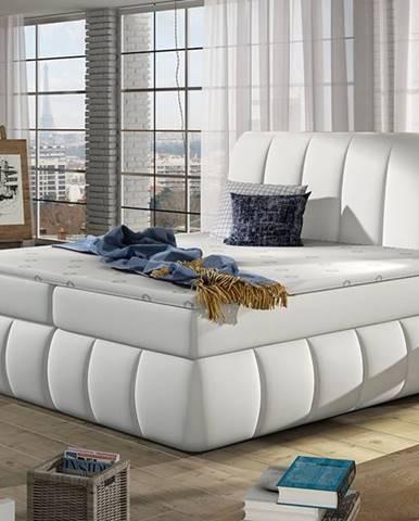 Vareso 180 čalúnená manželská posteľ s úložným priestorom biela