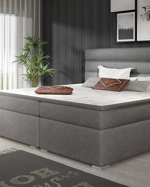 NABBI Spezia 180 čalúnená manželská posteľ s úložným priestorom sivá