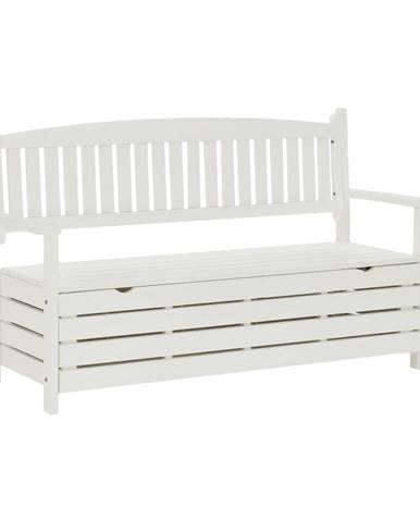 Amula záhradná lavička s úložným priestorom biela