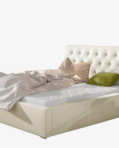 Monzo 140 čalúnená manželská posteľ s roštom béžová