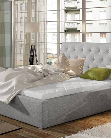 Monzo UP 200 čalúnená manželská posteľ s roštom svetlosivá (Sawana 21)