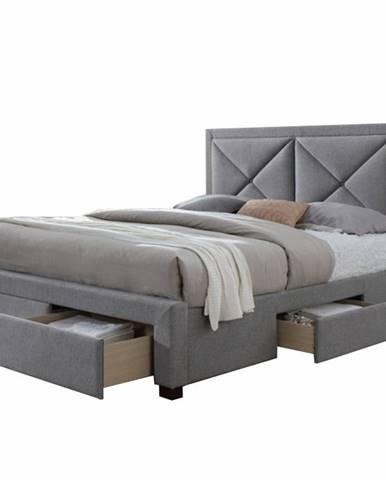 Xadra 180 čalúnená manželská posteľ s roštom sivá melírovaná