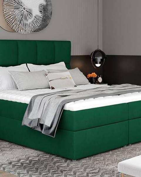 NABBI Grosio 165 čalúnená manželská posteľ s úložným priestorom tmavozelená