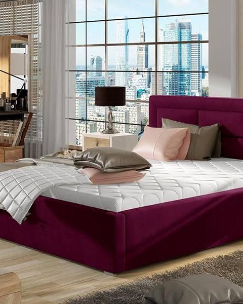 NABBI Rovigo 160 čalúnená manželská posteľ s roštom vínová