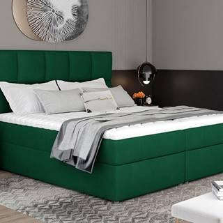 Grosio 165 čalúnená manželská posteľ s úložným priestorom tmavozelená